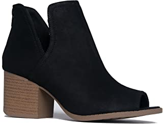 Tabs Western Boots - Cut Out Peep Toe Stacked Low Heel Ankle Bootie