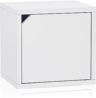 Way Basics Eco Stackable Connect Storage Cube Cubby Organizer con Puerta, Blanco (werkzeuglose Montaje y Singular transformación de sostenible, ungiftiger zBoard Pappe)