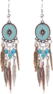 Bohemia Spiral Drop Earrings Teardrop Simulated Turquoise Dangle Earrings Fashion Jewelry for Women Girls Valentines Day Gifts