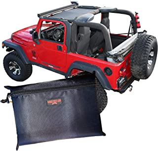 BADASS MOTO Jeep Wrangler TJ Front Mesh Sun Shade Top Cover. Easy Install. Sunshade Keeps Passengers Cool For Extra Comfort, UV + Wind & Noise Protection. Great Looking Accessories for your Jeep
