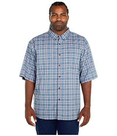 Dickies Big Tall Relaxed Fit Flex Short Sleeve Plaid Shirt (Dusty Blue Navy Plaid) Men