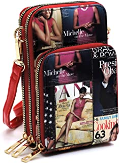 Magazine Cover Collage Michelle Obama Printed Crossbody Bag Cell Phone Purse Wallet