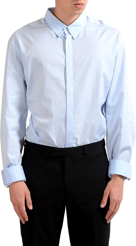 Versace Men's Light Blue Long Sleeve Dress Shirt US 18 IT 45;