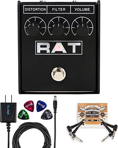 2021 Pro Co RAT2 Distortion Pedal with Overdrive Fuzz Bundle with wholesale Blucoil Slim 9V Power Supply AC Adapter, 2-Pack of Pedal Patch Cables, and 4-Pack 2021 of Celluloid Guitar Picks outlet online sale