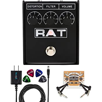 Pro Co RAT2 Distortion Pedal with Overdrive Fuzz Bundle with Blucoil Slim 9V Power Supply AC Adapter, 2-Pack of Pedal Patch Cables, and 4-Pack of Celluloid Guitar Picks