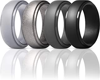 Silicone Rings for Men - 4 Rings / 1 Ring Step Edge Rubber Wedding Bands 10mm Wide