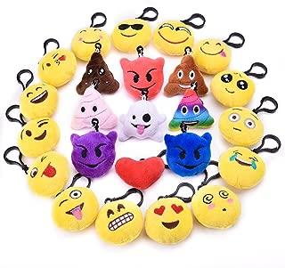 24PCs Emoji Key Chain Mini Plush Pillows Toys for Emoji Party Favors, Emoji Party Decorations