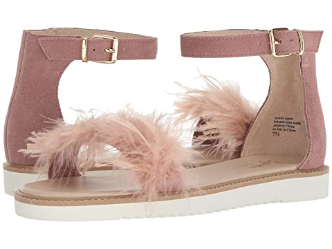 Ruffle A Few Feathers Ankle Strap Sandal, Pink Leather