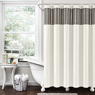 "Lush Decor Stitched Woven Stripe Yarn Dyed Cotton Shower Curtain, 72"" x 72"", Ivory & Black"