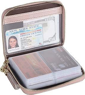 Womens Credit Card Holder Wallet Zip Leather Card Case RFID Blocking