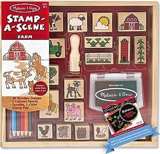 Melissa & Doug Farm: Stamp-a-Scene Wooden Stamp Set & 1 Scratch Art Mini-Pad Bundle (08592)
