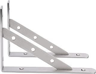 "Amarine-made Pair Stainless Steel Solid Shelf Brackets,8"",10"",12"", Shelf Support Corner Brace Joint Right Angle Bracket (8""X5-1/2"")"