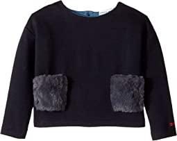 Sonia Rykiel Kids - Long Sleeve Fur Pocket Top (Toddler/Little Kids)