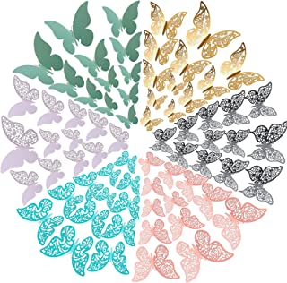 120 Pieces Butterfly Wall Decor Stickers with Glue Point Dots Removable Mural Decoration 3D Metallic Art Wall Sticker for ...