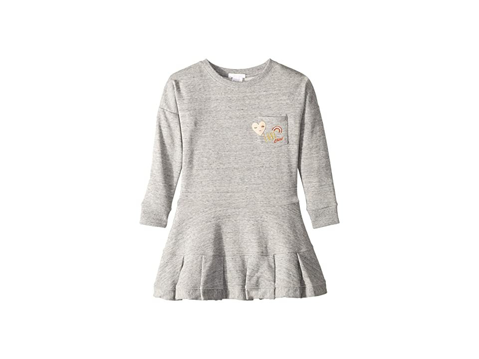 Chloe Kids Embroidery Fleece Dress with A Pocket, Embroidered Patches (Little Kids/Big Kids) (Grey) Girl