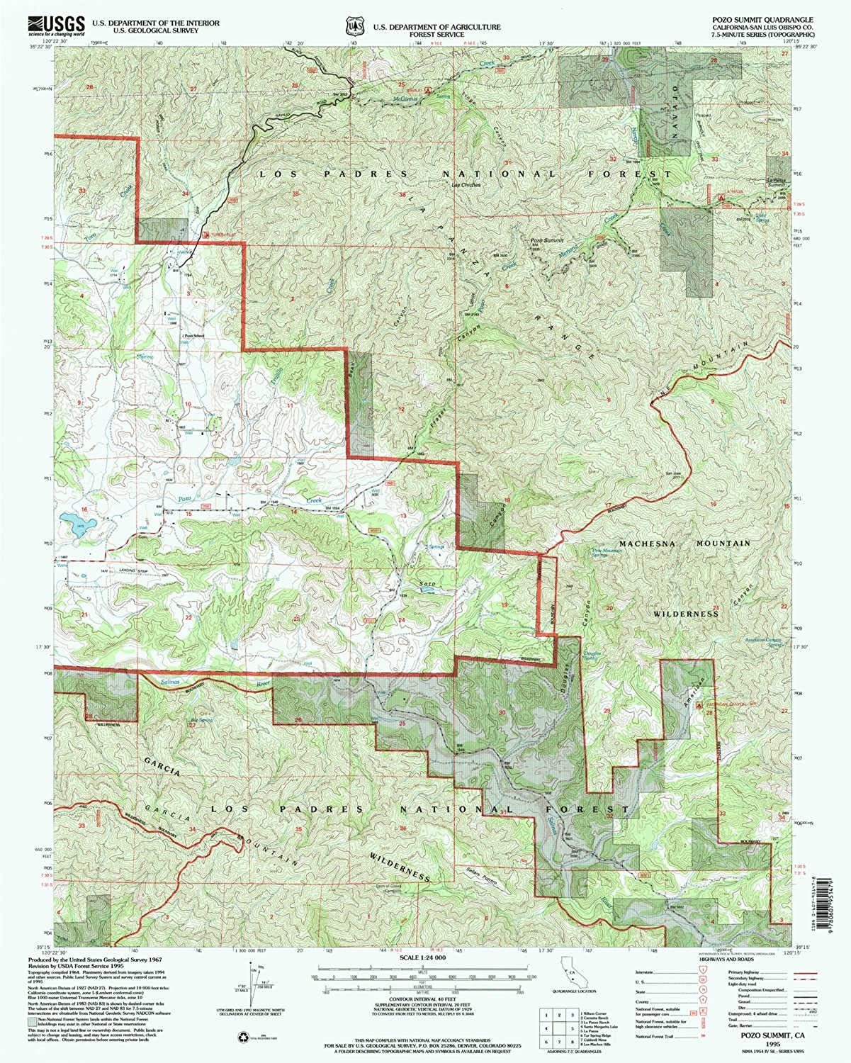 Pozo Summit CA topo map, 1 24000 Scale, 7.5 X 7.5 Minute, Historical, 1995, Updated 2000, 26.8 x 21.4 in