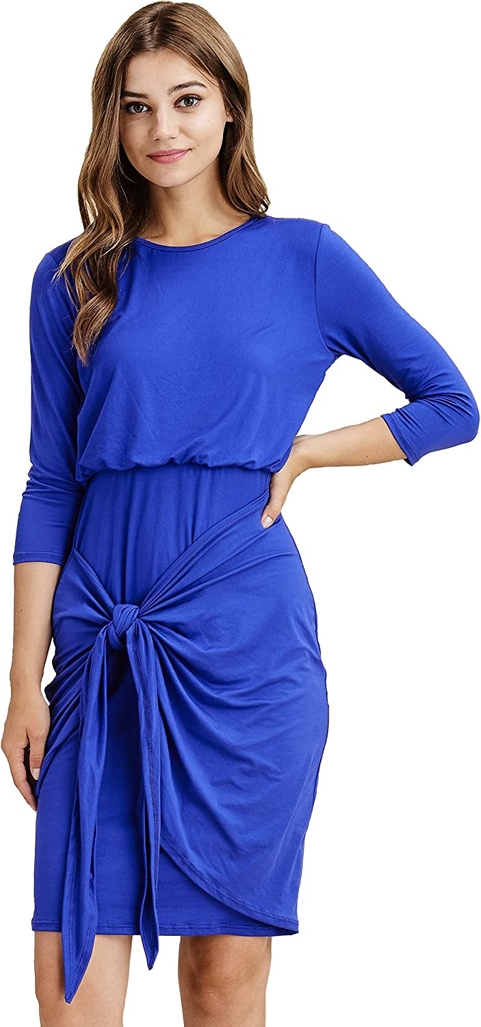 Modest Shop LA 3 4 Sleeve Tie Front Dress, Knee Length