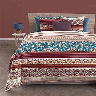 Soleil d'ocre Jaipur Housse de Couette + 2 taies, Coton, Blue, 220 x 240 cm