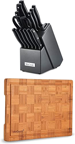 """high quality McCook MC39 Full sale Tang Triple Rivet Kitchen online Knife Block Set with Built-in Sharpener + MCW12 Bamboo Cutting Board (Small, 14""""x10""""x0.8"""") online sale"""