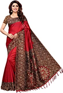 c54d6b1296 Indira Designer Women's Art Mysore Silk Saree With Blouse Piece (Star-Red)