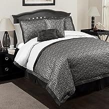 Lush Decor Leopard 6-Piece Comforter Set, Full, Black