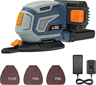 BLUE RIDGE 18V Cordless Lithium-Ion Detail Sander with 2.0 Ah Battery, Sturdy Dust Collection Container & Fast Charger, 1...