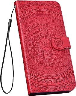 YSIMEE Compatible con Fundas Samsung Galaxy A50 Carcasa Mandala Cierre Magnético Flip Billetera con Tapa para Ultra Delgado Cartera Ranuras de TarjetaSoporte PlegableRojo