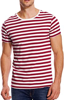 Striped T Shirt for Men Crew Neck Stripes Cotton Tee Slim Fit Male Casual Top