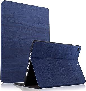 HBorna iPad 10.2 ケース 2019 手帳型 二つ折 防衝撃 オートスリープ iPad 7世代カバー (木の紋 ネイビー)