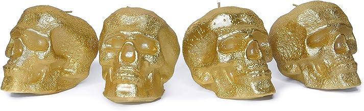 مجموعة من 4 شموع ذهبية اللون مثالية لتزيين الجمجمة وتزيين الحفلات - شموع تحت عنوان للشموع على شكل جمجمة الهالوين - بيضاء م...