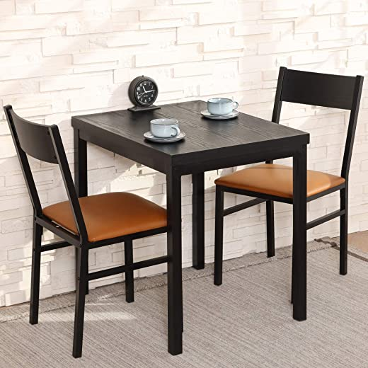 HOMURY 3 Piece Dining Table Set with Cushioned Chairs, Modern Counter Height Dinette Set, Small Kitchen Table Set with 1 Table and 2 Chairs for Dining Room, Kitchen, Small Spaces, Espresso and Brown