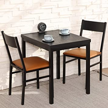 Amazon Com Homury 3 Piece Dining Table Set With Cushioned Chairs Modern Counter Height Dinette Set Small Kitchen Table Set With 1 Table And 2 Chairs For Dining Room Kitchen Small Spaces Espresso