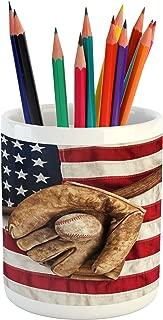 Ambesonne Baseball Pencil Pen Holder, Vintage Baseball League Equipment USA Grunge Glove Bat Fielding Sports Theme, Ceramic Pencil Pen Holder for Desk Office Accessory, 3.6