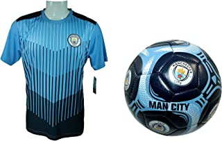 Manchester City F.C. Soccer Official Soccer Training Jersey & Size 5 Ball Combo