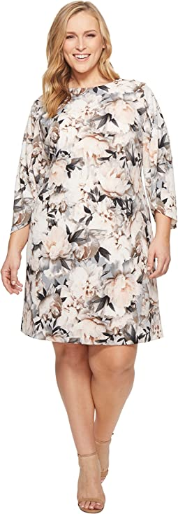 Plus Size Print Slit Flare Sleeve Dress