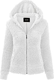 FASHION BOOMY Women's Oversized Shearling Teddy Bear Jacket - Faux Fur Hoodie Zip Up - Regular and Plus Sizes