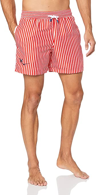Palmacea Men's Red Stripes Swim Shorts