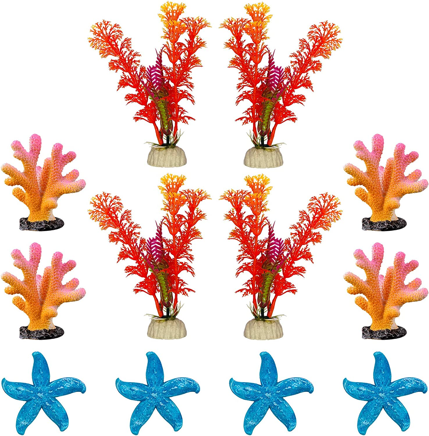 GSD 12-PCS Artificial Aquarium Plants Tank Decoration Set New color Special price for a limited time Fish O