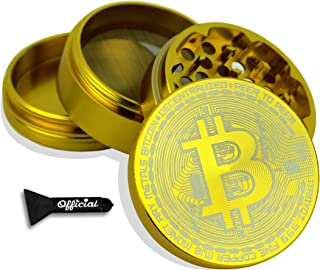Official Bitcoin Coin Herb Grinder - Non Stick Multi Hole Design - 4 Piece Bitcoin Themed Herb & Spice Grinder With BONUS Scraper Tool - Cryptocurrency Gifts, 2.3 Inches