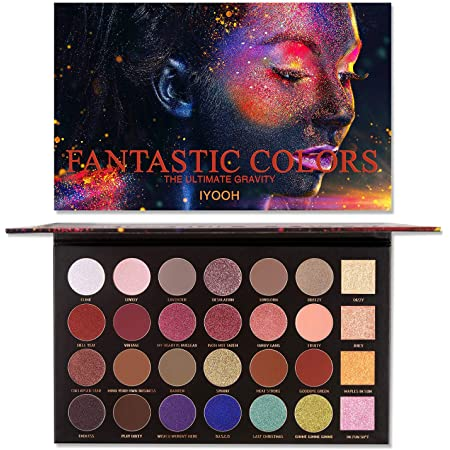 IYOOH Ultra Diamond Glitter Eyeshadow Palette, 28 Colors Professional Pressed Powder Makeup set, 4 Pearly Glitter + 9 Smooth Matte + 15 Cream Shimmer, Highly Pigmented Neutral Naked Bright Eye Shadow