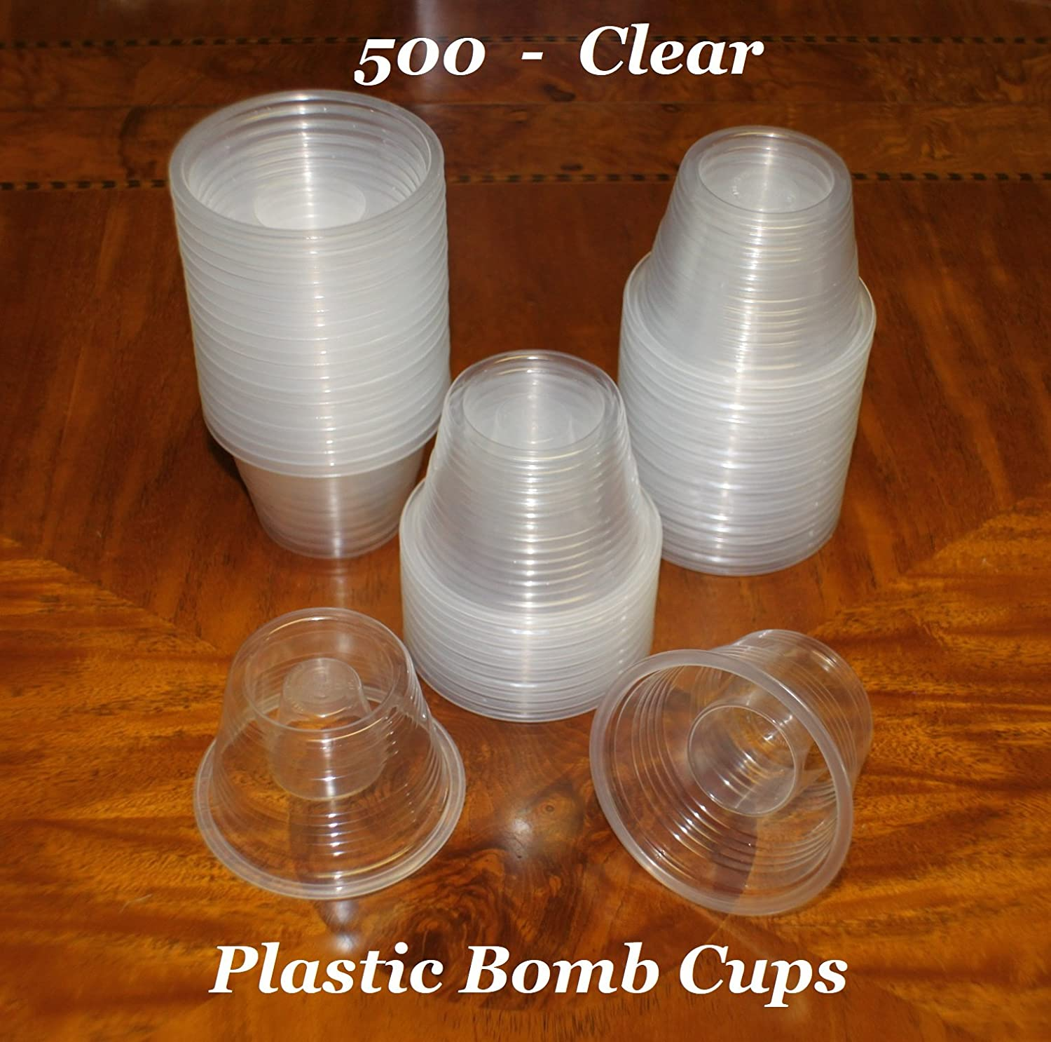 Clear Disposable Plastic Power Bomber Shot Cups or Bomb Glasses