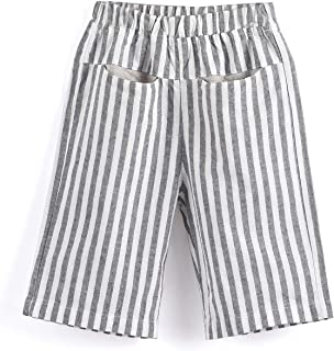Aimama Toddler Baby Boys Pants,Summer Striped 100% Cotton Trousers with Elastic Waistband for 12 Monthes-6 Years Kids