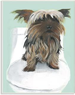 Stupell Home Décor Yorkie In The Bathroom Illustration Wall Plaque Art, 10 x 0.5 x 15, Proudly Made in USA