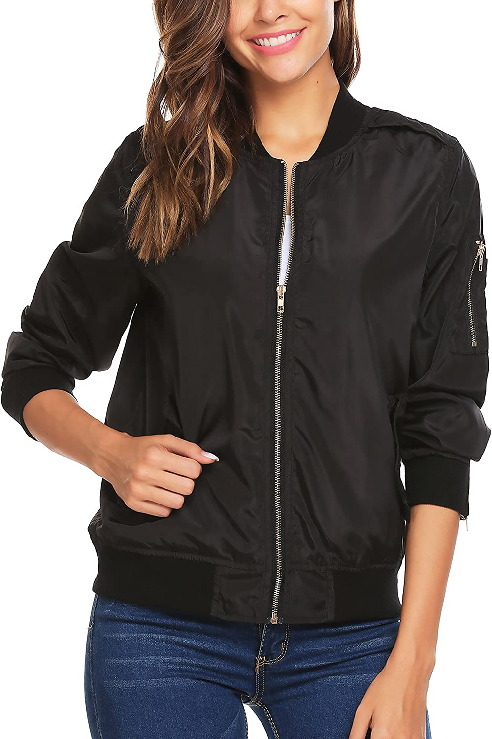 Beyove Women Long Sleeve Quilted Zip Up Jacket Short Bomber Jacket