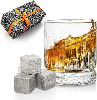 DS Gifts Vaso grande de whisky antiguo   12 piezas de piedras de whisky con bolsa de regalo   Idea perfecta como regalo pa...