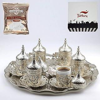 تخفيضات (مجموعة من 6) طقم أكواب قهوة إسبرسو عثماني تركي يوناني عربي لتقديم القهوة باللون الفضي