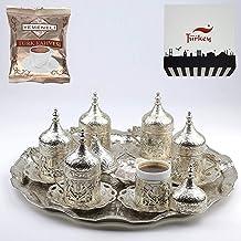 طقم فناجين تقديم قهوة عربية وعثمانية يونانية وتركية من مجموعة من 6 قطع، لون فضي من سيل