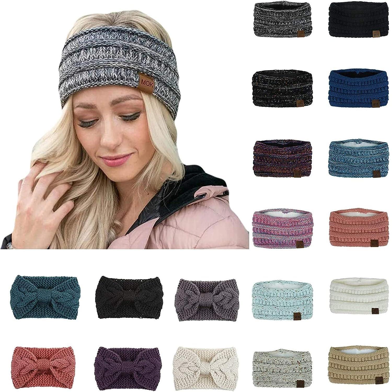 Womens Winter Ear Warmer Headband - Warm Winter Cable Knit Headband, Soft Stretchy Thick Fuzzy Headwrap Earwarmer (02-Gray)