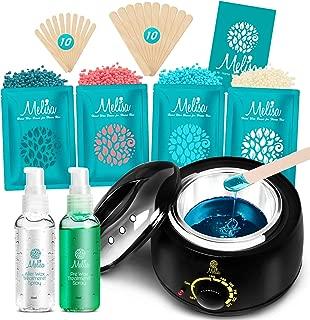 Yeelen Waxing Kit Wax Warmer Wax Beads Hot Wax Hair Removal with 4 packs Hard Wax Beans and 20 Wax Applicator Sticks for Men Women Face Eyebrows Legs Brazilian