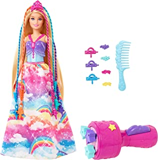 Barbie Dreamtopia Twist 'n Style Princess Hairstyling Doll 11.5 in Blonde with Rainbow Hair Extensions & Accessories, Gif...